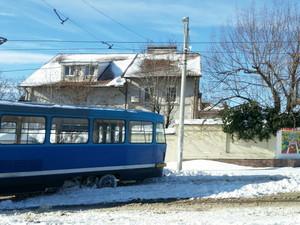 На Большом Фонтане сошел с рельсов трамвай (ФОТО)