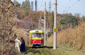 Линию 27-го трамвая в Одессе снова затопило дождем