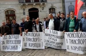 Во Львове бастуют частные перевозчики (ФОТО)