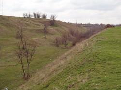 Выемка для железнодорожных путей на окраине села Серпневое