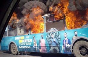 В Одессе сгорел старый троллейбус