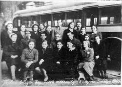 """Первые водители первых одесских троллейбусов, 5 ноября 1945 года, фото из музея КП """"ОГЭТ"""""""