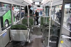 Автобус Mercedes-Benz Citaro. Гибрид с газовым двигателем. Пассажирский салон, вид вперед.
