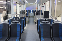 Электробус Sileo S12 в новом кузове. Пассажирский салон, вид назад.