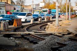 В Одессе продолжается ремонт трамвайной конечной у Пересыпского моста (ФОТО)