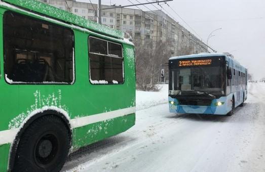 В Харькове из-за непогоды городской транспорт работал с перебоями