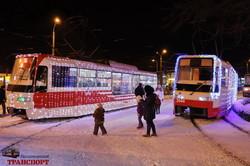 Рождественский парад трамваев проехал по Одессе (ФОТО, ВИДЕО)