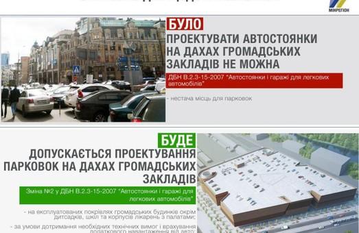 В Украине могут появиться парковки и стоянки на крышах общественных строений
