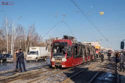 В Казани сгорел относительно новый белорусский трамвай