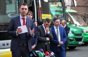 В Киеве показали автобусы, которые обслуживают межобластные маршруты на Одессу