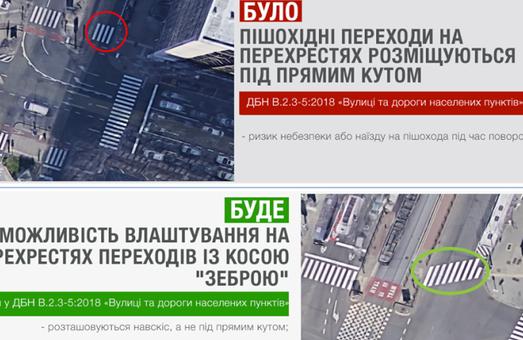 В Украине могут появиться пешеходные переходы под косым углом к тротуару