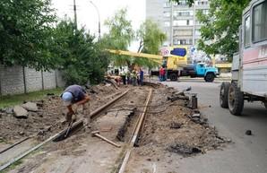 В Каменском Днепропетровской области проводят ремонт трамвайных путей