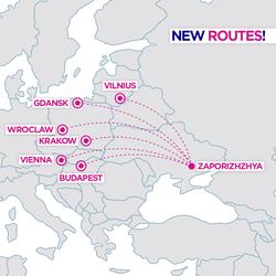 Венгерский лоукостер «Wizz Air» будет летать из Запорожья в шесть городов Европы