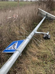 Вандалы в Одесской области повредили оборудование автономной подсветки пешеходного перехода