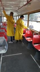 В Одессе продолжают дезинфицировать общественный транспорт (ФОТО)