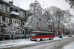 Как снежный циклон в Одессе мешает работе транспорта (ФОТО, ВИДЕО)